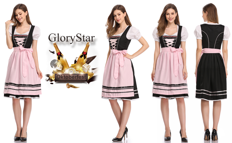 Glorystar Women's German Dirndl Dress 3 Pieces Oktoberfest Costumes