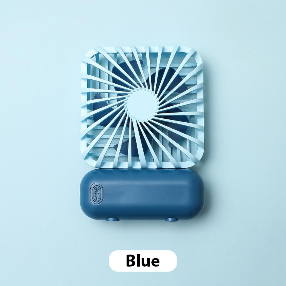 Mini Desk Fan Portable Handheld Outdoor Silent USB Rechargeable Fan for Office Student blue_11 * 6.5 * 3cm