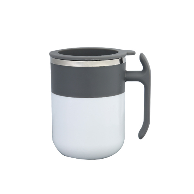 Portable Magnetized Cup Drink Rotating Cup Coffee Mixing Cup for Home Office white