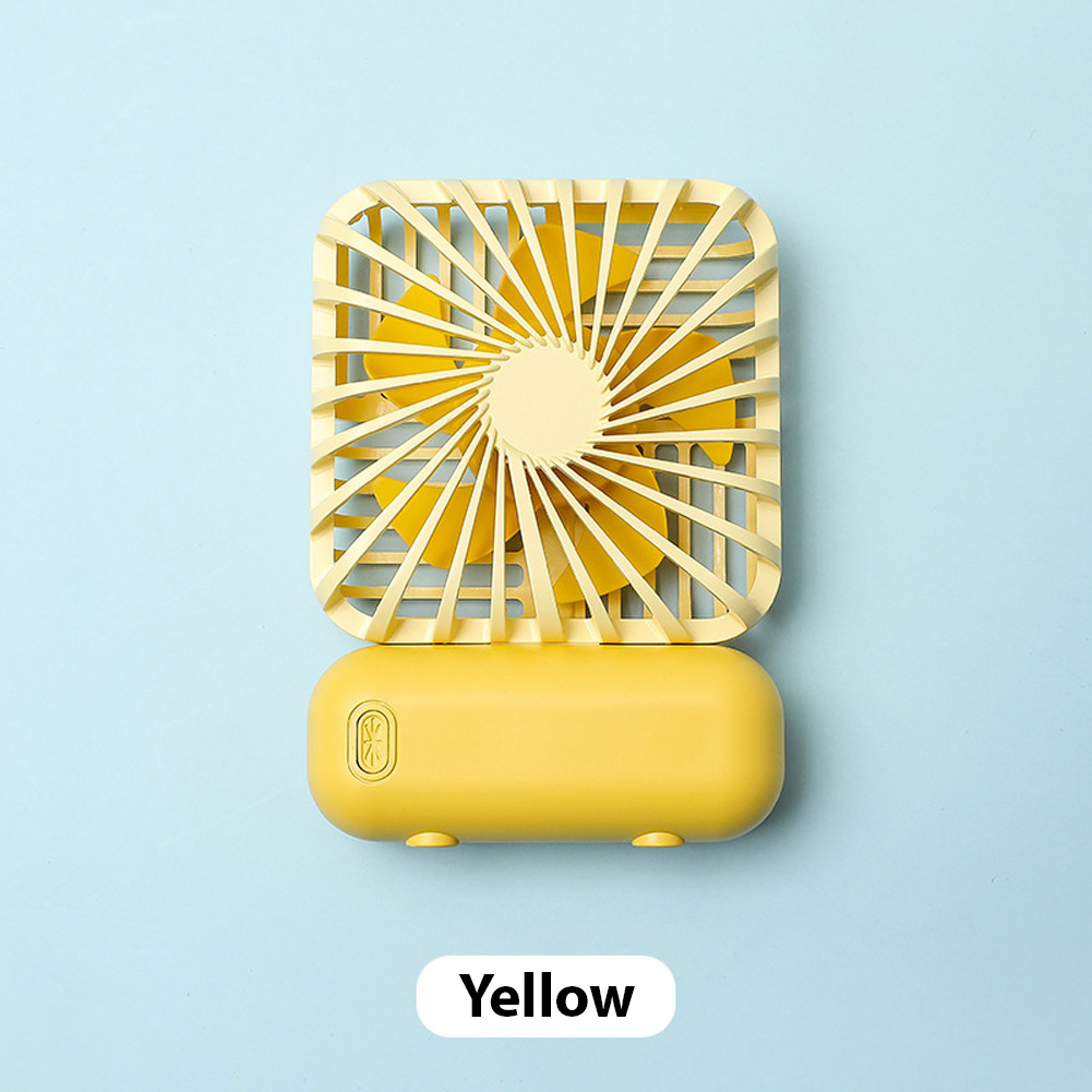 Mini Desk Fan Portable Handheld Outdoor Silent USB Rechargeable Fan for Office Student yellow_11 * 6.5 * 3cm