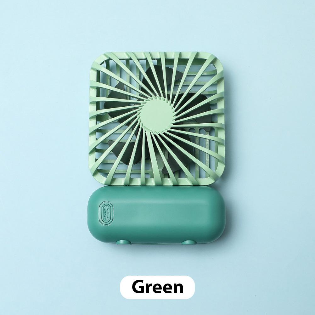Mini Desk Fan Portable Handheld Outdoor Silent USB Rechargeable Fan for Office Student green_11 * 6.5 * 3cm