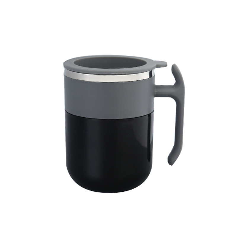 Portable Magnetized Cup Drink Rotating Cup Coffee Mixing Cup for Home Office black