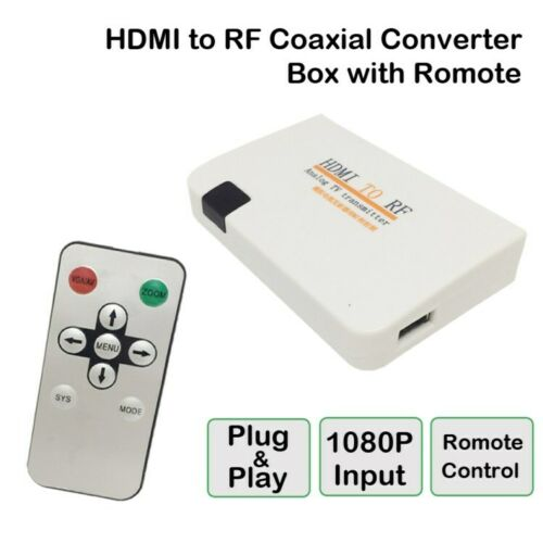 HDMI to RF Coaxial Converter Box with Remote Control UK plug
