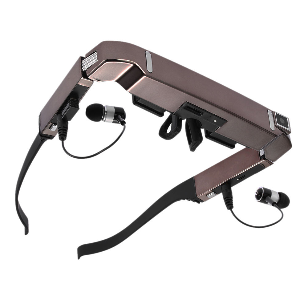 Vision 800 Smart Android WiFi Glasses Wide Screen Portable Video 3D Glasses Private Theater with Bluetooth Camera  black