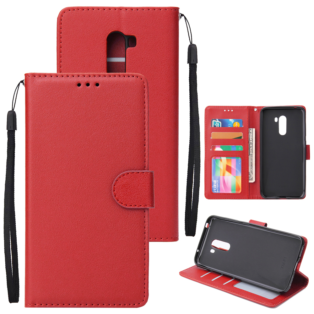 For Xiaomi Pocophone F1 Flip-type Leather Protective Phone Case with 3 Card Position Buckle Design Phone Cover  red