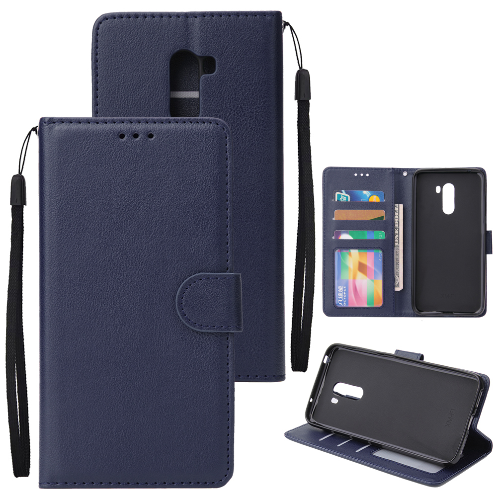 For Xiaomi Pocophone F1 Flip-type Leather Protective Phone Case with 3 Card Position Buckle Design Phone Cover  blue