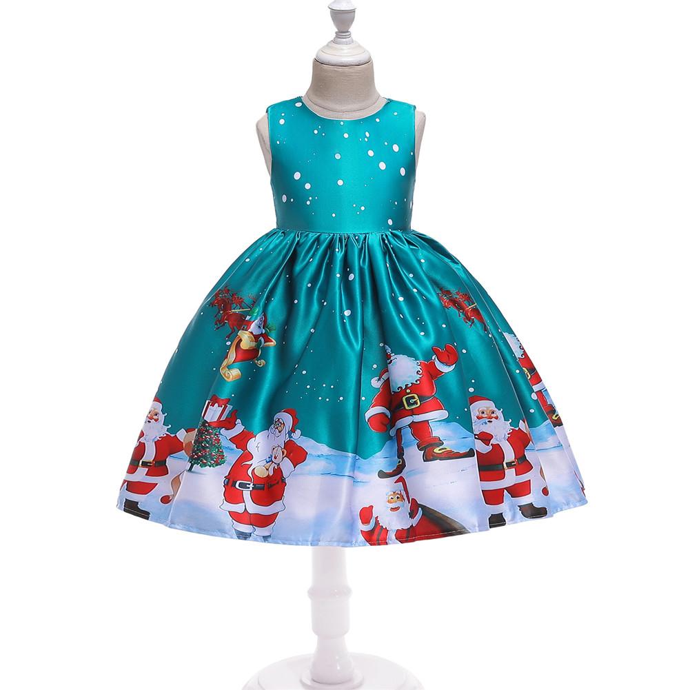 Girls Dress Christmas Short-sleeve Printed Satin Dress for 3-9 Years Old Kids Figure 3_150cm
