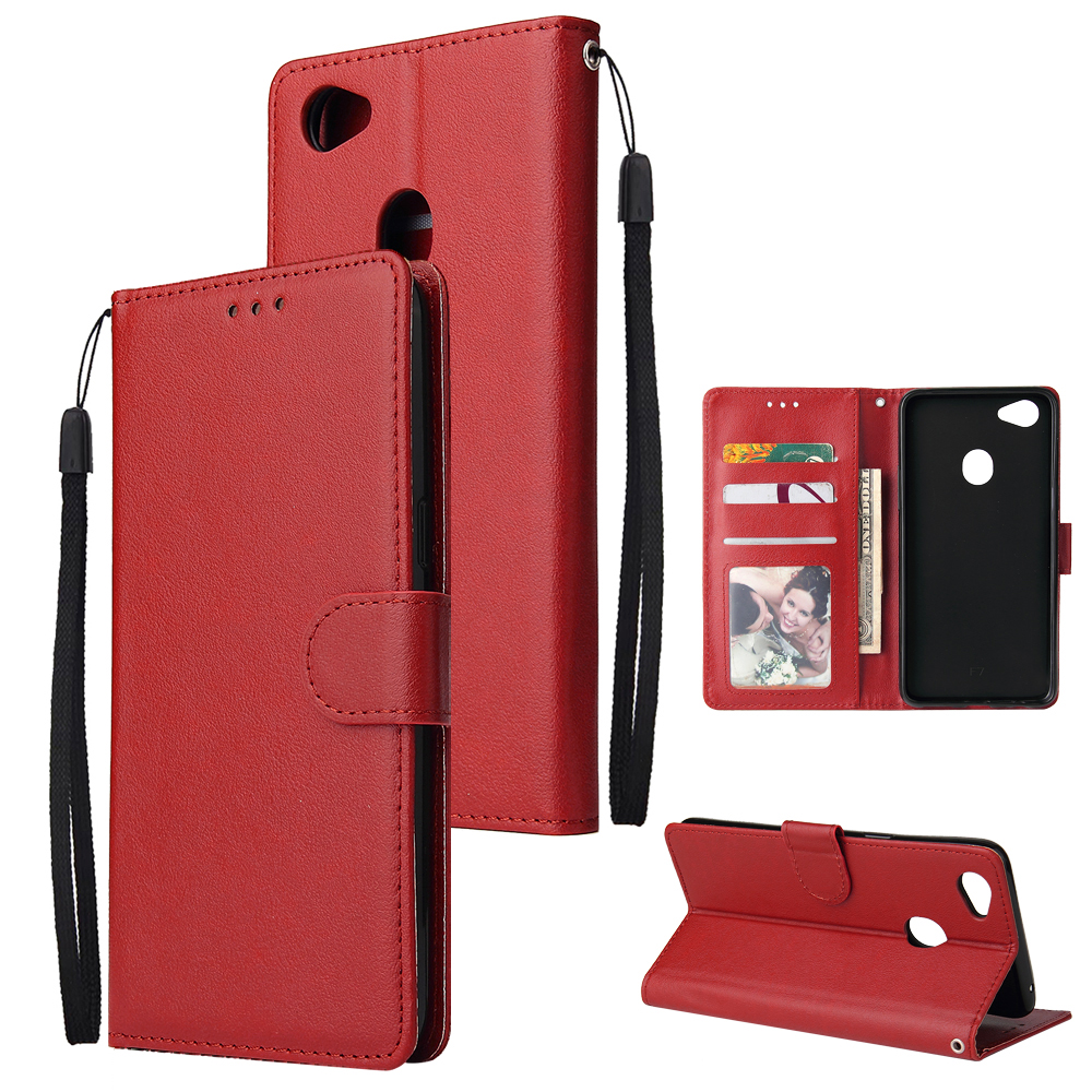For OPPO F7 Wallet-type PU Leather Protective Phone Case with Buckle & 3 Card Position red