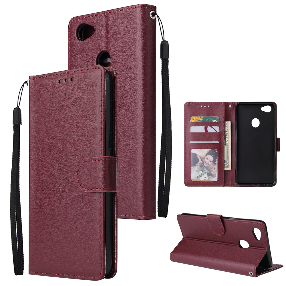 For OPPO F7 Wallet-type PU Leather Protective Phone Case with Buckle & 3 Card Position Red wine
