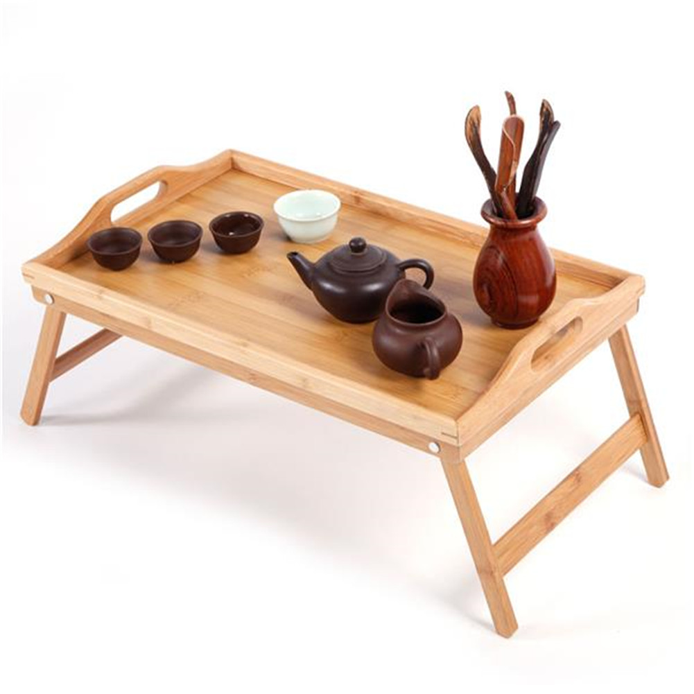 [US Direct] Bamboo Tea  Table Bed Tray With Folding Legs For Serving Breakfast Laptop Computer Tray Snack Tray Wood color