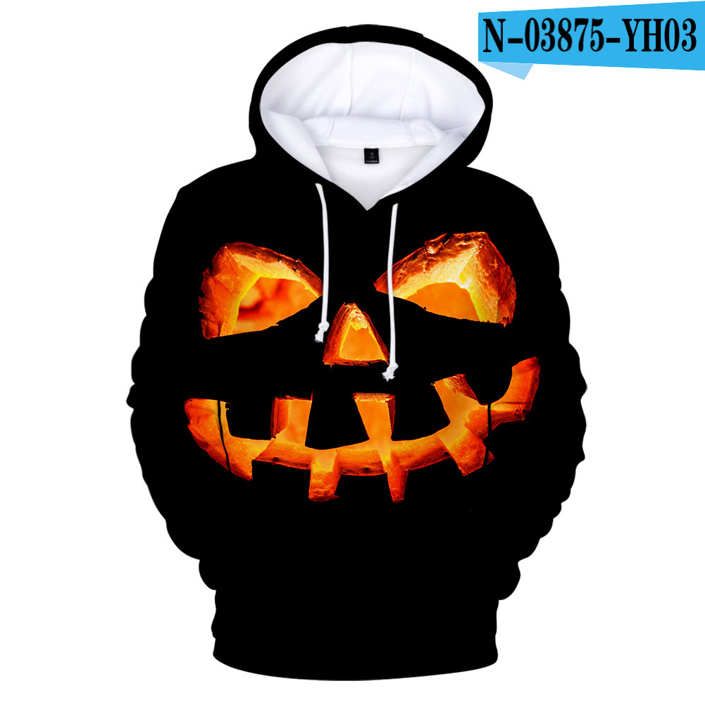 3D Pumpkin Face Digital Printing Halloween Hooded Sweatshirts for Men Women N-03875-YH03 7 styles_L