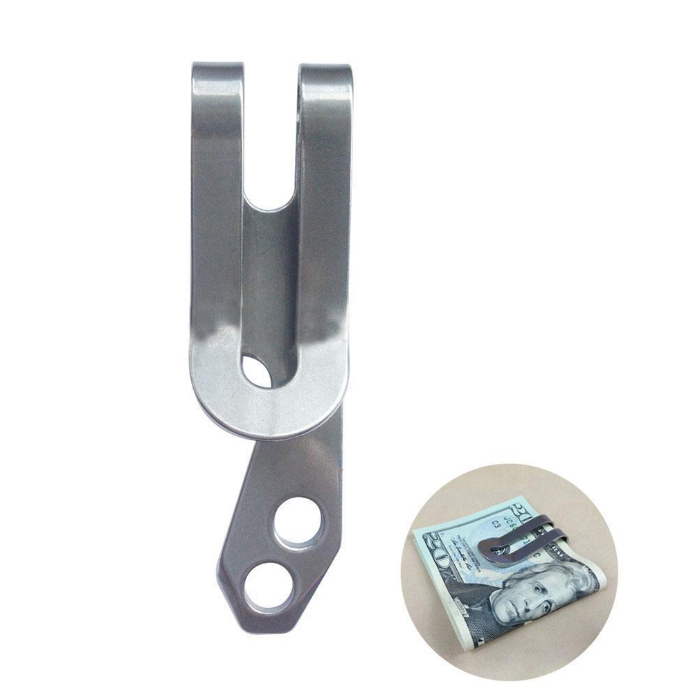 Outdoor Portable Multi-function Tool Practical Stainless Steel Money Clip Key Hang Buckle Carabiner Silver
