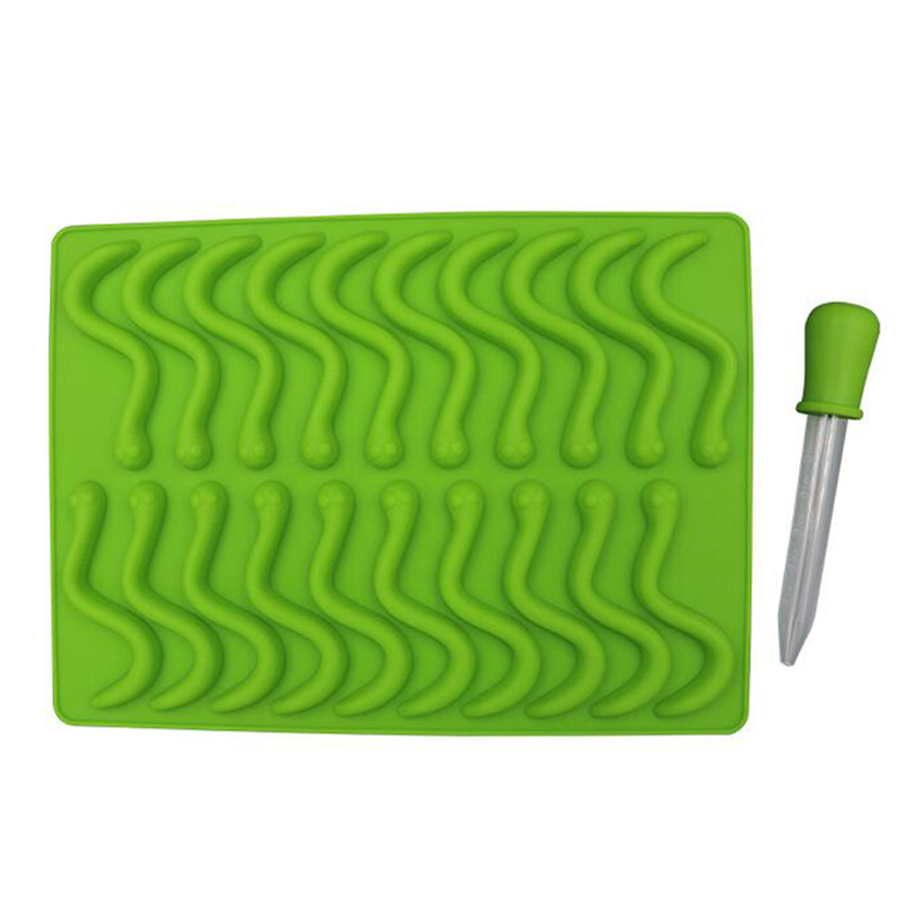 20 Cavity Silicone Worms Shape Mold Sugar Candy Jelly Molds Ice Tube Tray Baking Cake Tools Worm mould green + dropper