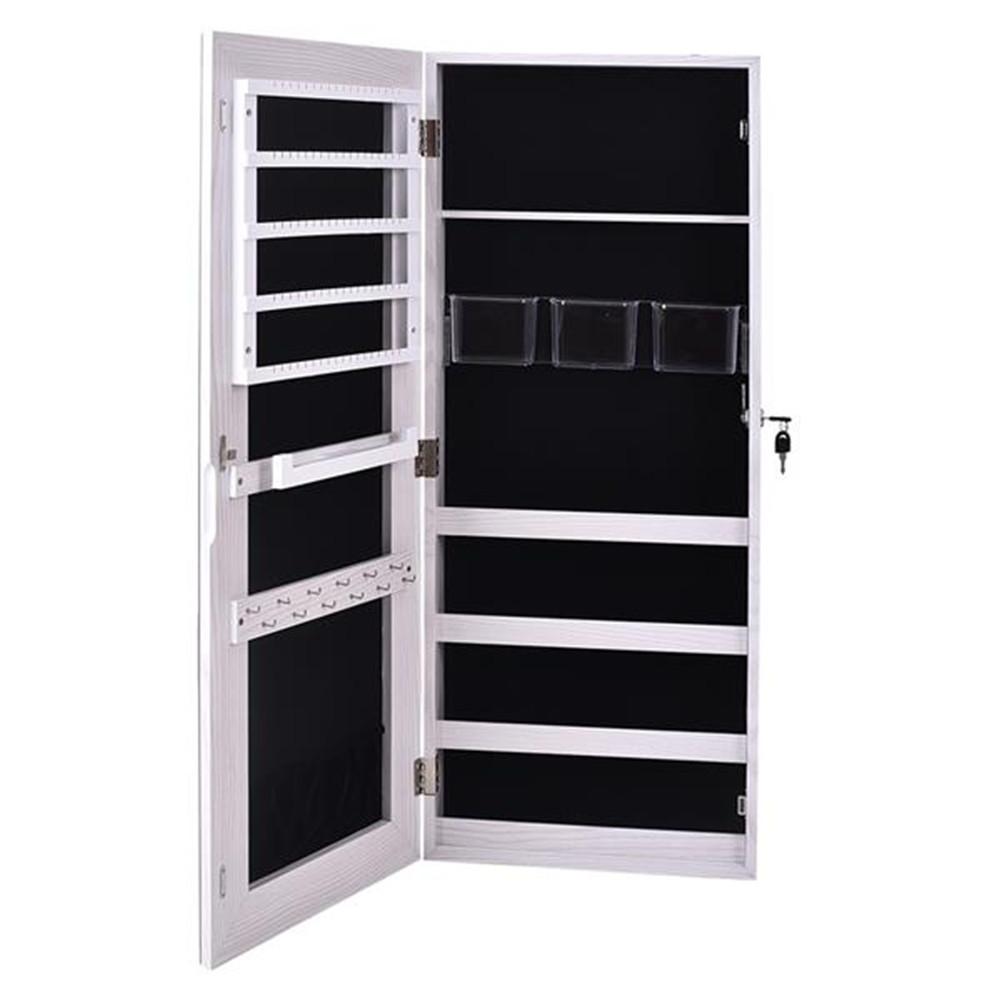 [US Direct] Storage  Cabinet 4-layer 3 Storage Boxes With Mirror Wall-mount Storage Organizer white