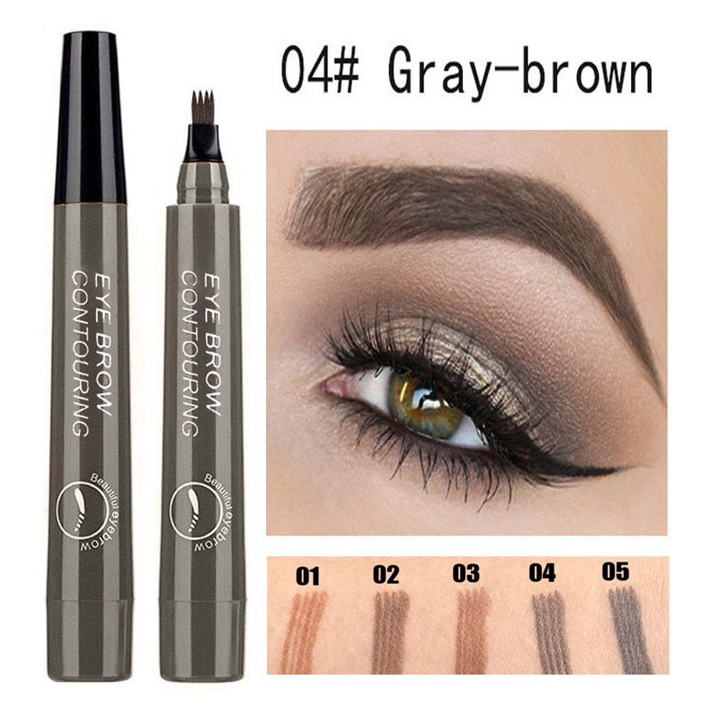 4 Colors 3D Microblading Eyebrow Tattoo Pen 4 Fork Tips Waterproof Fine Sketch Liquid Eyebrow Pencil  04 beige