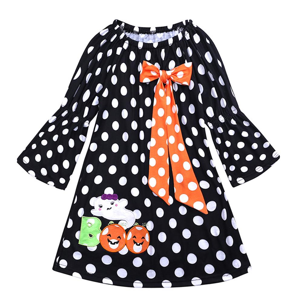 Children Long Sleeve Girls Halloween Dress Polka Dot Pumpkin Dress LYQ1364N orange dot bow_110
