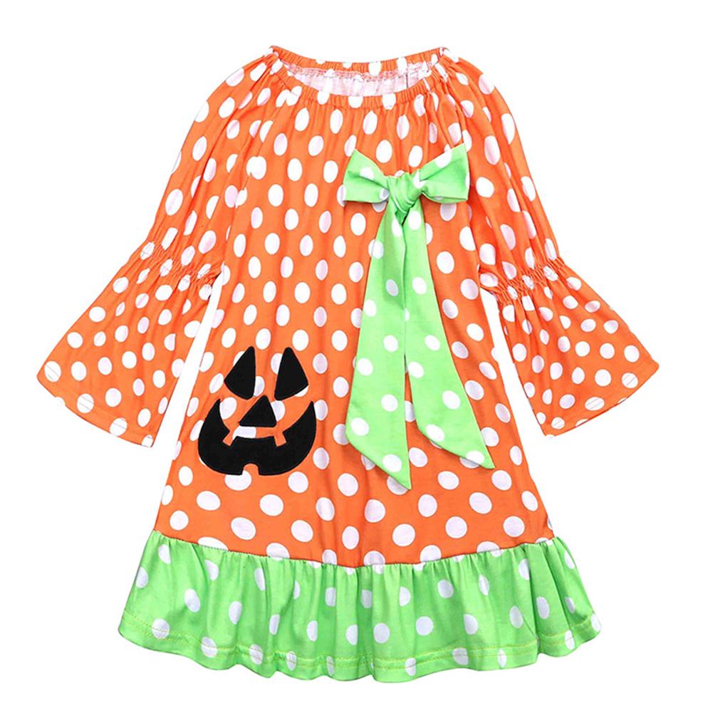 Children Long Sleeve Girls Halloween Dress Polka Dot Pumpkin Dress LYQ1364P green dot bow_90