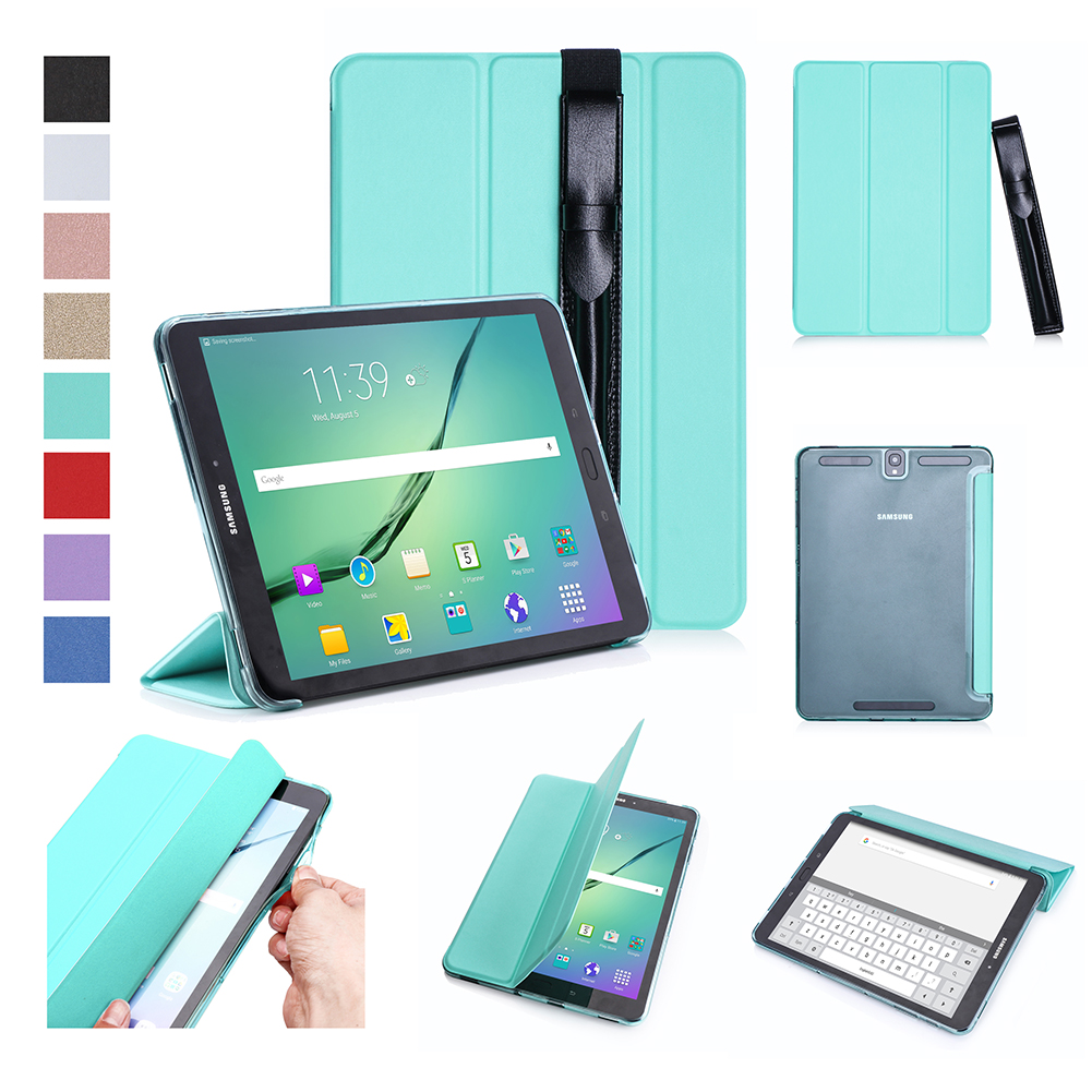 For Samsung tab S3 9.7 inch T820/T825 PU Leather Protective Case with Pen Bandage Sleep Function green
