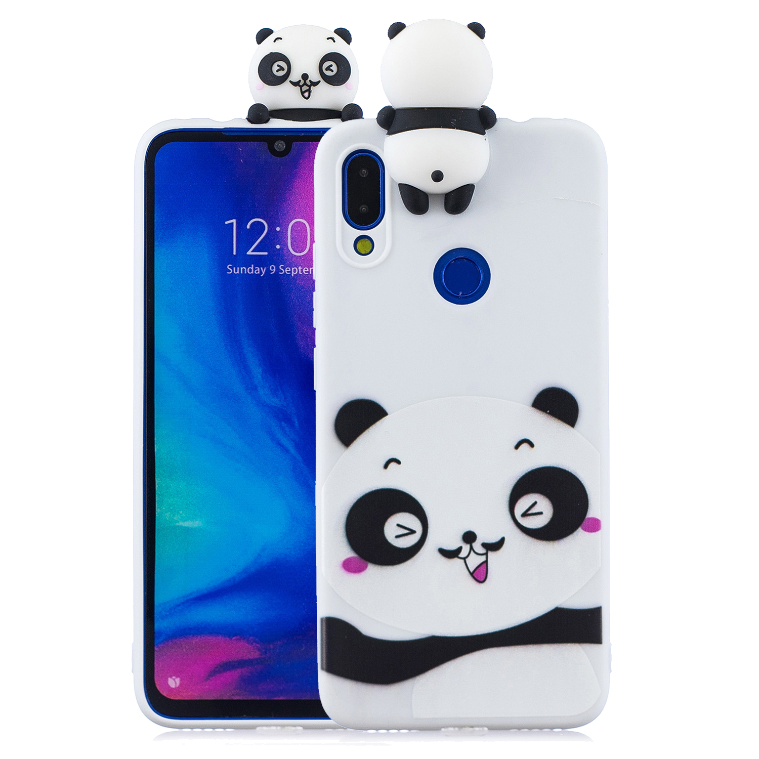 For Redmi NOTE 7 3D Cute Coloured Painted Animal TPU Anti-scratch Non-slip Protective Cover Back Case white