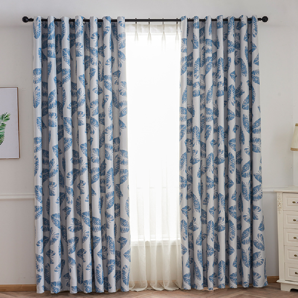 Leaf Printing Shading Window Curtain  with Hanging Holes 1*2.5m High Living Room Bedroom Drapes blue