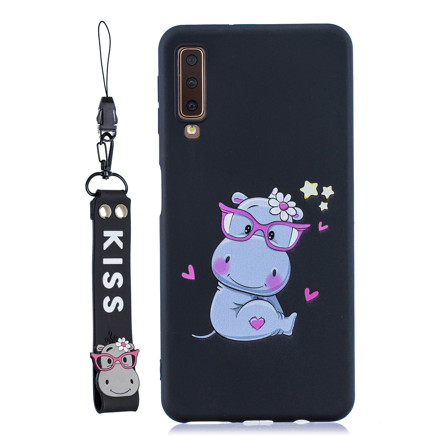 For Samsung A7 2018 Cartoon Lovely Coloured Painted Soft TPU Back Cover Non-slip Shockproof Full Protective Case with Lanyard black