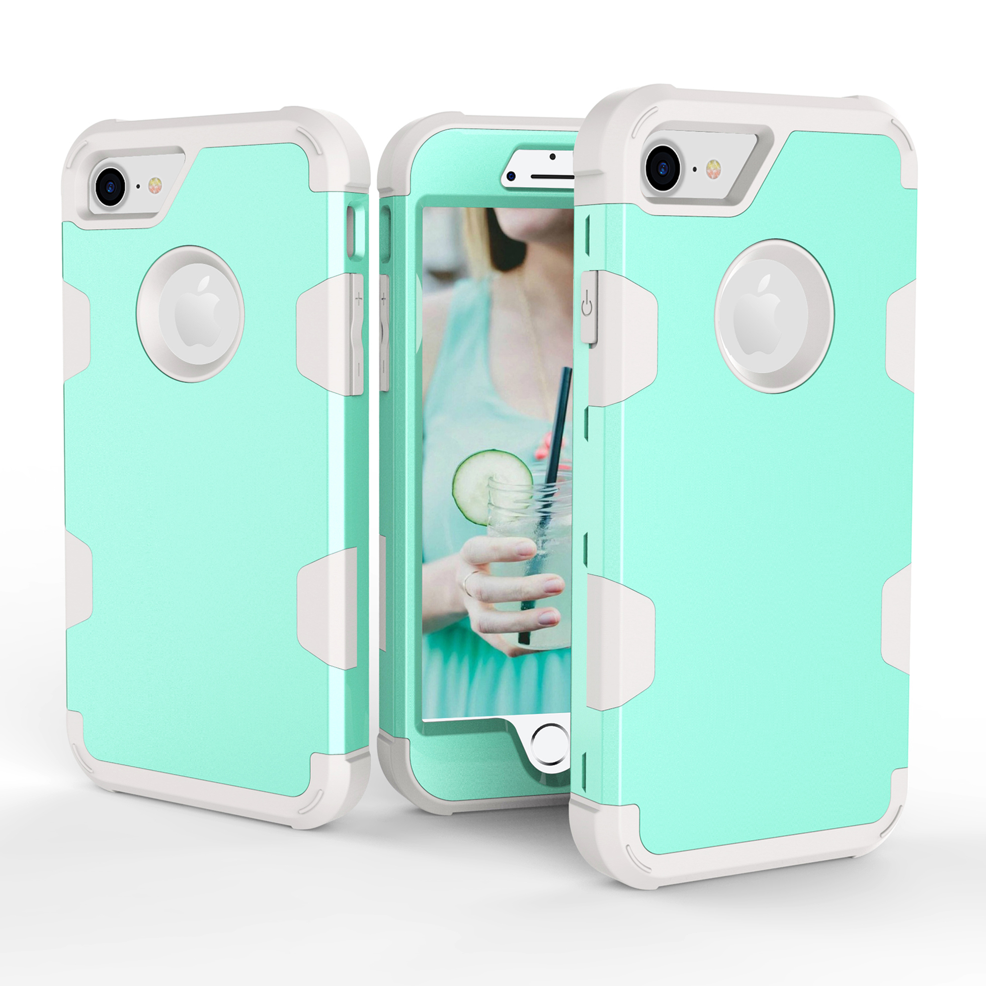 For iPhone 7 PC+ Silicone 2 in 1 Hit Color Tri-proof Shockproof Dustproof Anti-fall Protective Cover Back Case Mint green + gray