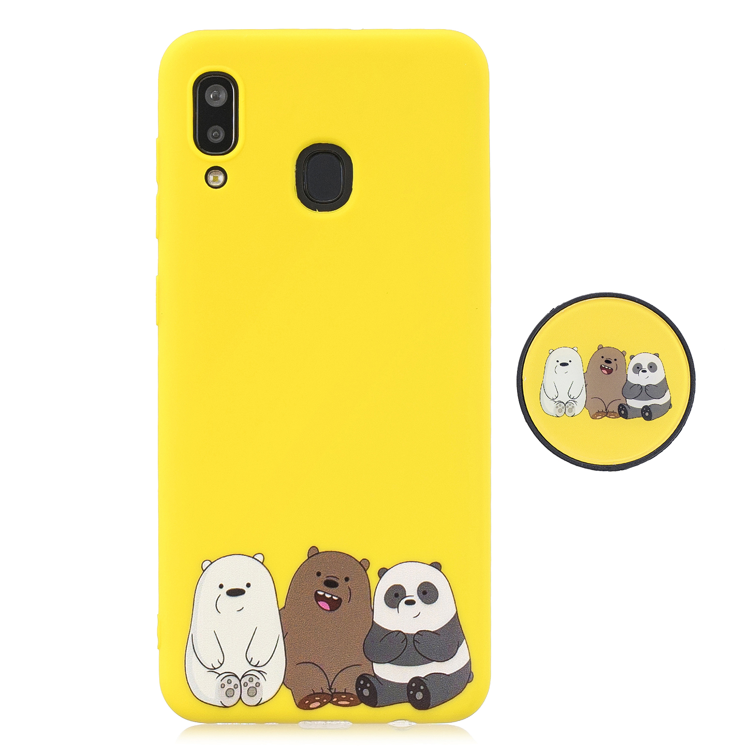 For Samsung A30 A20 TPU Full Cover Cartoon Pattern Solid Color Protective Phone Case with Adjustable Bracket 7