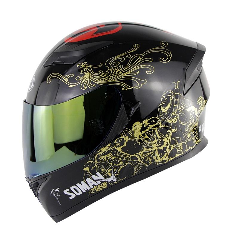 Motorcycle Helmet Men Full Face Helmet Moto Riding ABS Material Motocross Helmet gold_XL