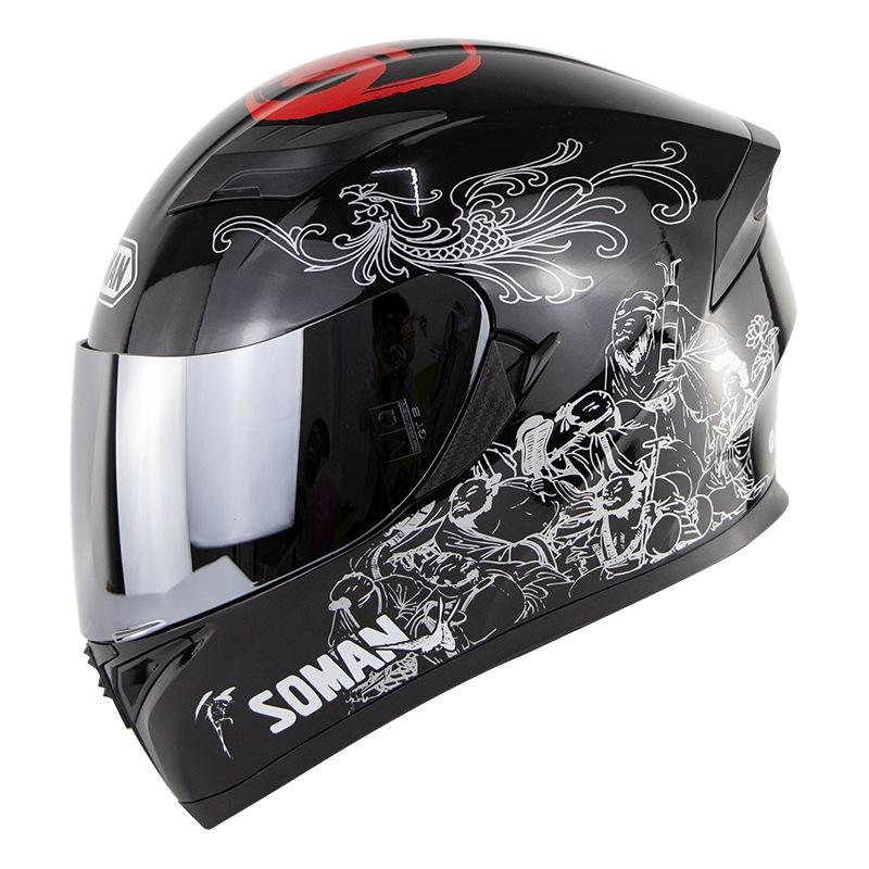 Motorcycle Helmet Men Full Face Helmet Moto Riding ABS Material Motocross Helmet Silver_M