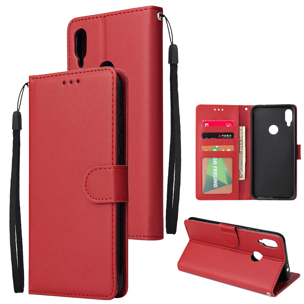 For Redmi note 7/Redmi note 7pro Flip-type Leather Protective Phone Case with 3 Card Position Buckle Design Phone Cover  red