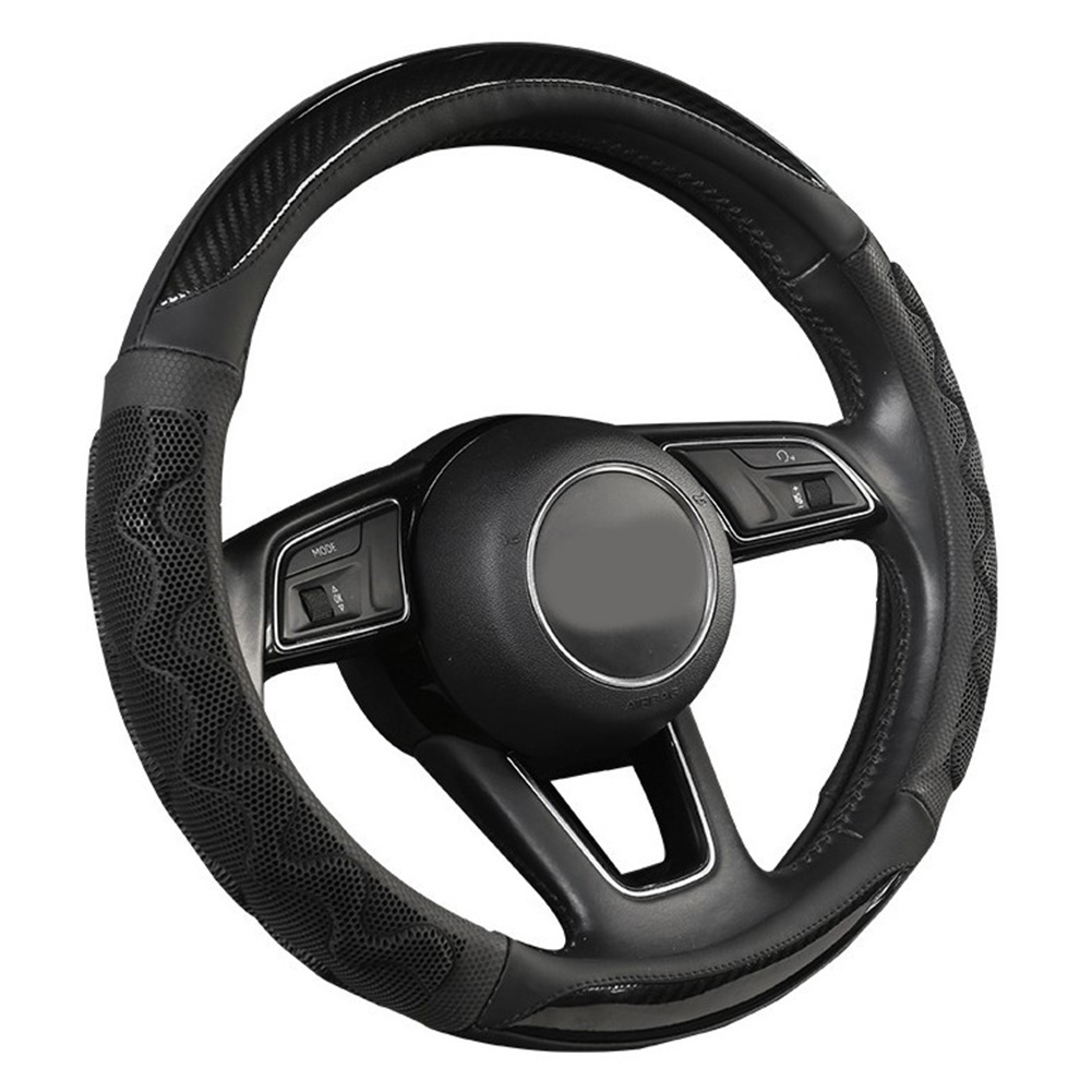 Car Supplies Steering Wheel Cover Genuine Leather SUV Four Seasons Universal Absorbent Non-slip  Cow Skin Cover black_38cm