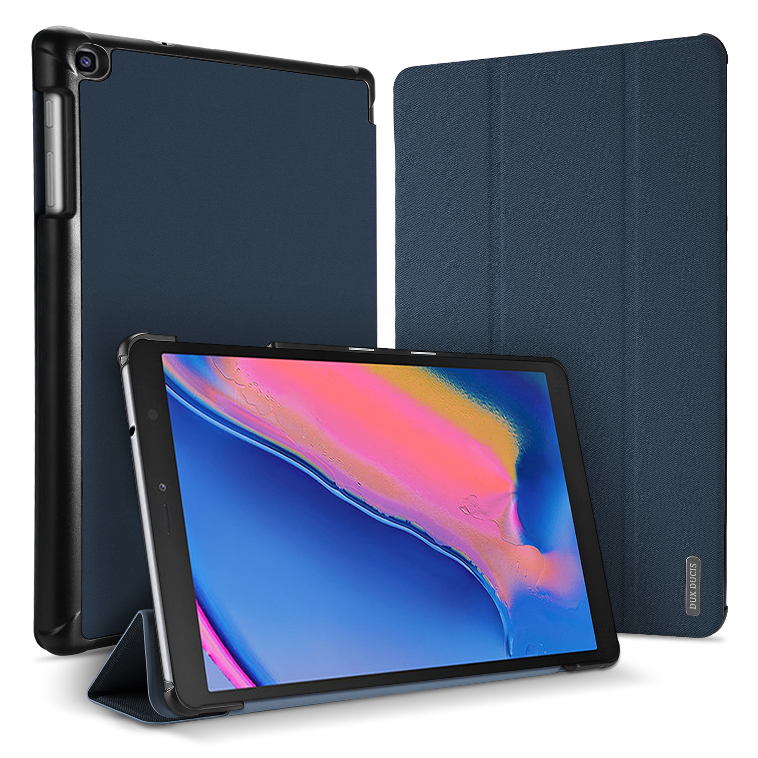 DUX DUCIS For Samsung TAB A 8.0 (2019) P200-P205 Simple Solid Color Smart PU Leather Case Anti-fall Protective Stand Cover with Pencil Holder Sleep Function  blue