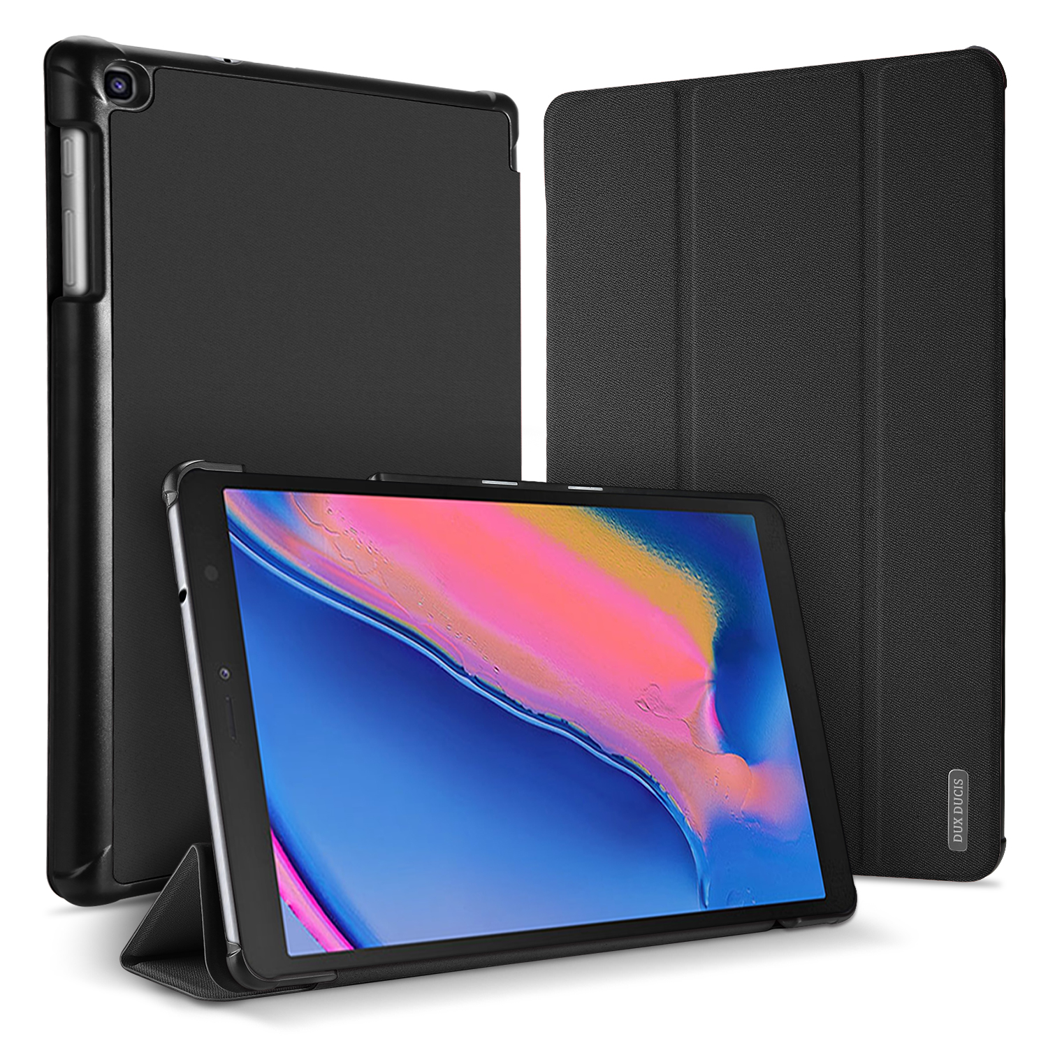 DUX DUCIS For Samsung TAB A 8.0 (2019) P200-P205 Simple Solid Color Smart PU Leather Case Anti-fall Protective Stand Cover with Pencil Holder Sleep Function  black