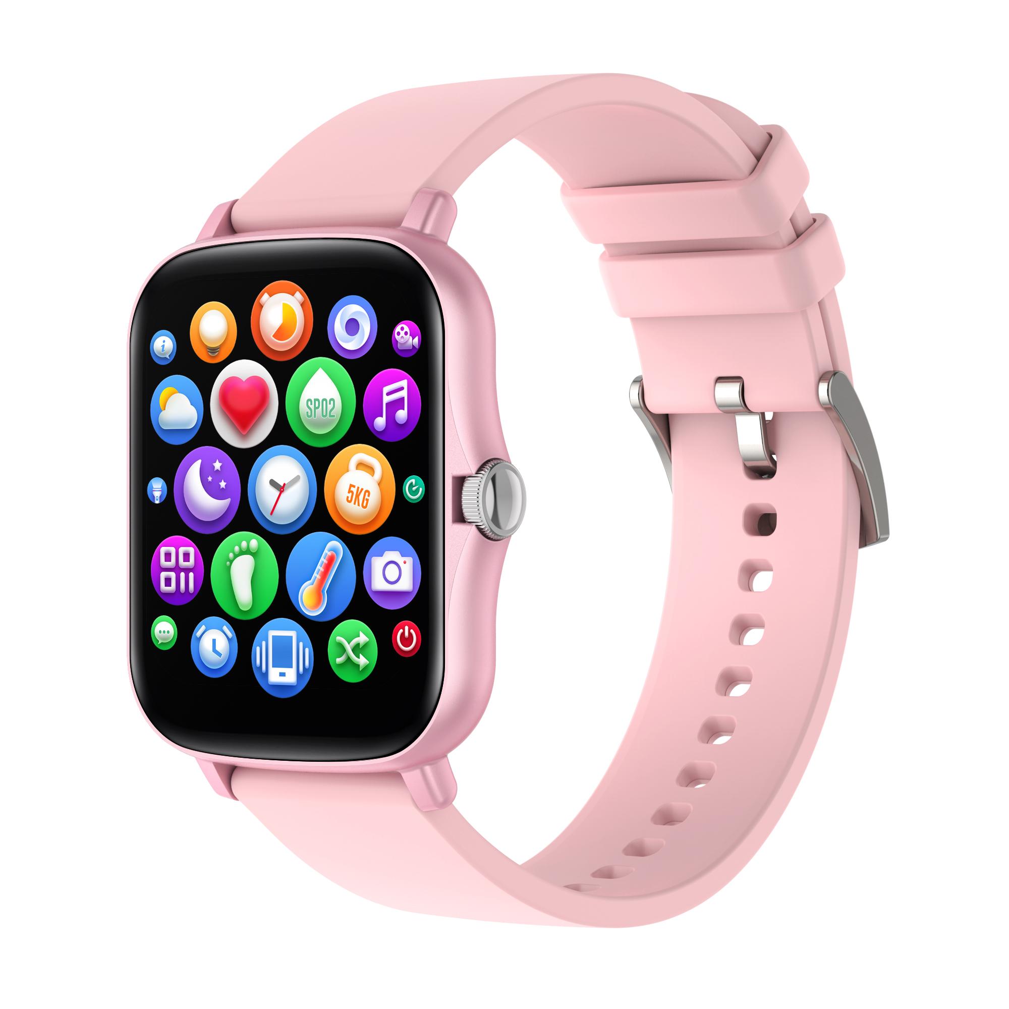 1.7 Inch HD Screen Y20 Smart Watch Men Rotate Button IP67 Waterproof Smartwatch Pink