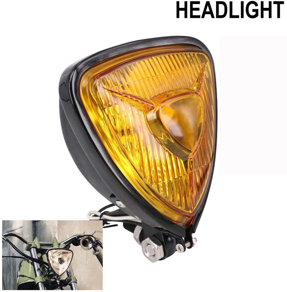 Motorcycle Headlight  Amber Triangle Chrome Headlight Lamp for Chopper Bobber black