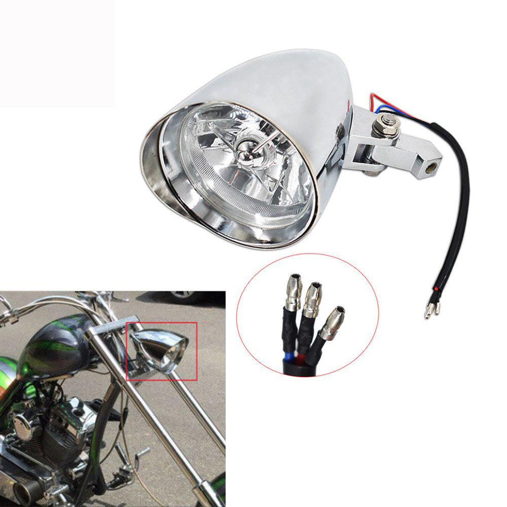 Motorcycle Headlight Lamp Chrome Visor Headlight Lamp For Bobber Chopper Dyna Plated