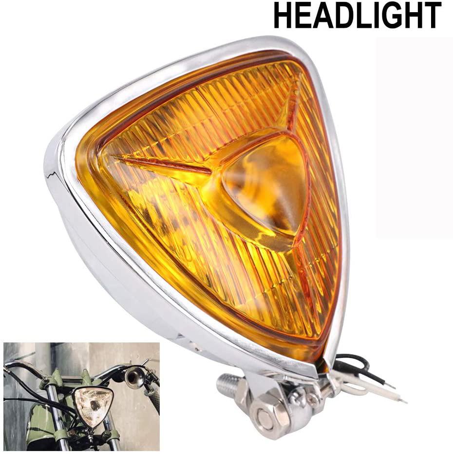 Motorcycle Headlight  Amber Triangle Chrome Headlight Lamp for Chopper Bobber plating
