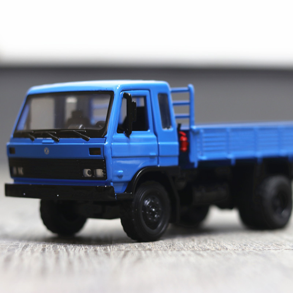 Simulate Alloy Truck Model Door Opening Sound Light Inertia Toy for Kids blue