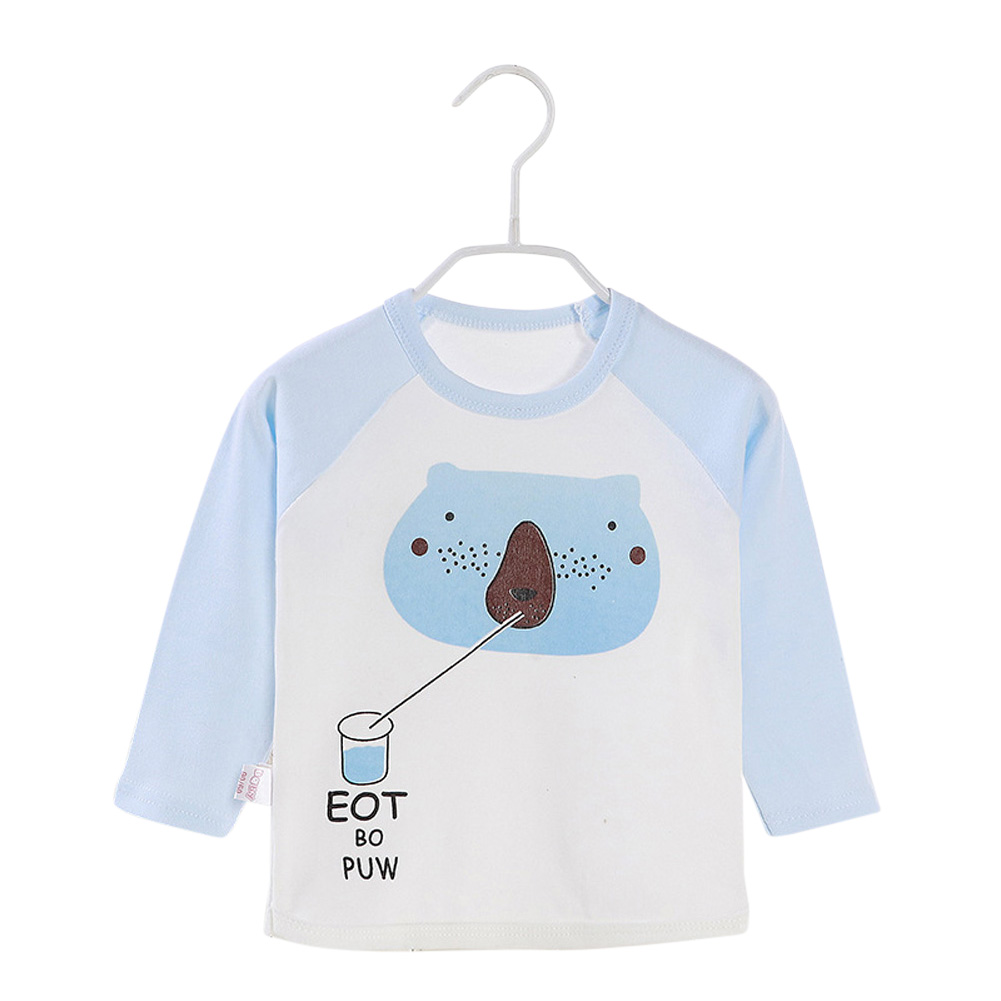 Children's T-shirt Long-sleeve Cotton Bottoming Crew- Neck Shirt for 0-4 Years Old Kids Blue _80cm