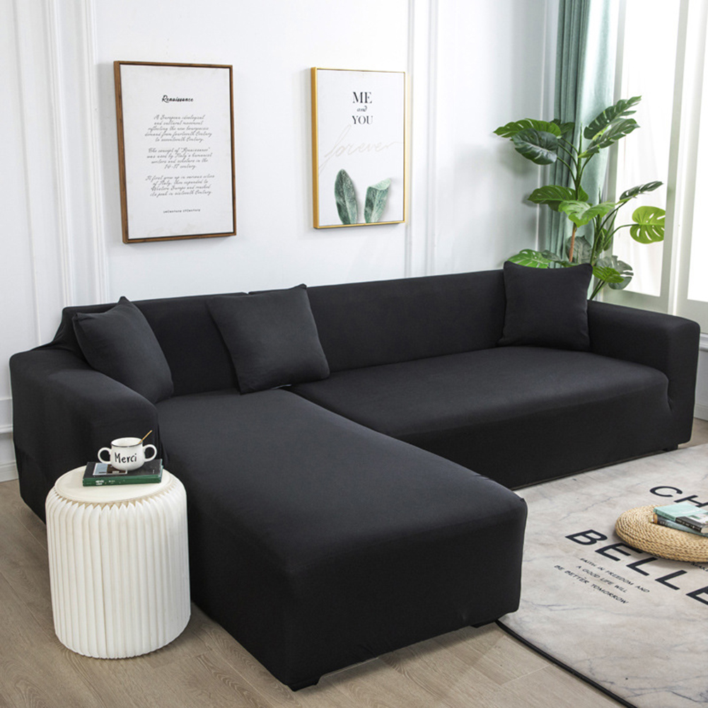 Universal Cloth Sofa Covers for Living Room Elastic Spandex Slipcovers black_Double (145-185cm applicable)