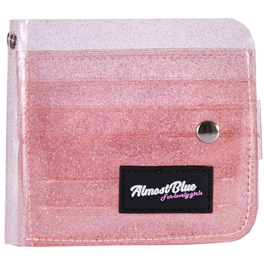Women ID Bank Card Bag Transparent PVC Credit Business Card Holder Organizer with Landyard Pink
