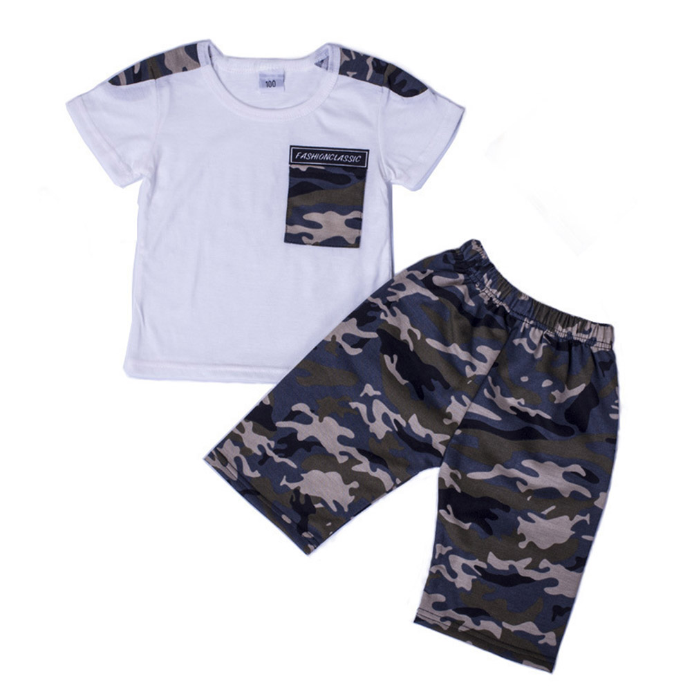 2pcs/set Boy Casual Suit Camouflage Shorts+Short Sleeves Shirt For 3-8 Years Old white_130cm