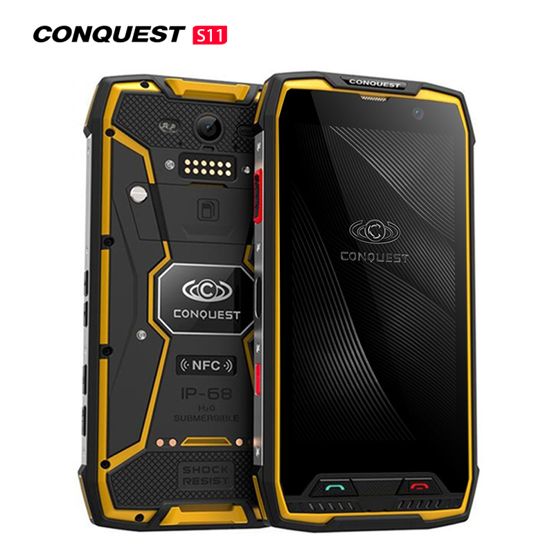 Conquest S11 7000mAh NFC OTG IP68 Shockproof 4G Smartphone Android 7.0 6GB RAM 128GB ROM Cell Phones Rugged Mobile Phone Yellow 6+128GB