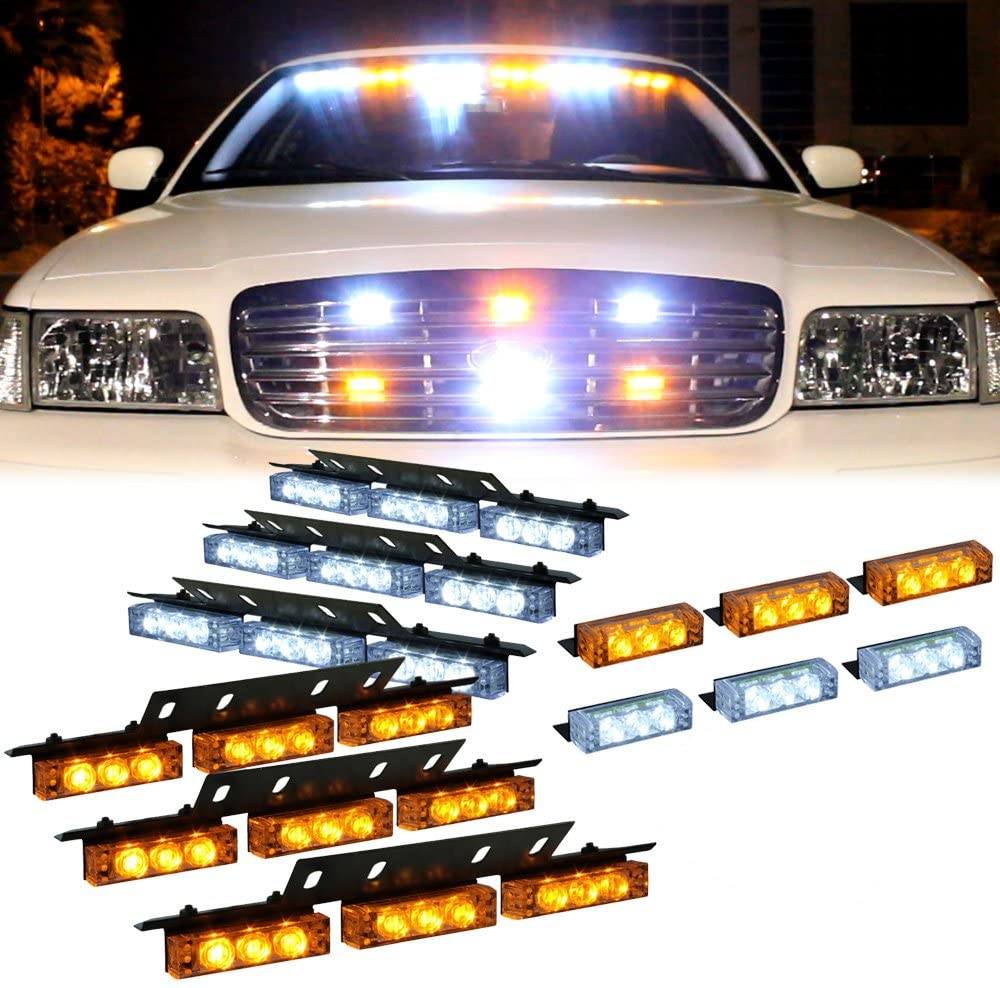 Amber 54 Leds Grille Deck Visor Dash Emergency Strobe Lights For Truck Construction Security Vehicles 3 yellow lights 3 white lights