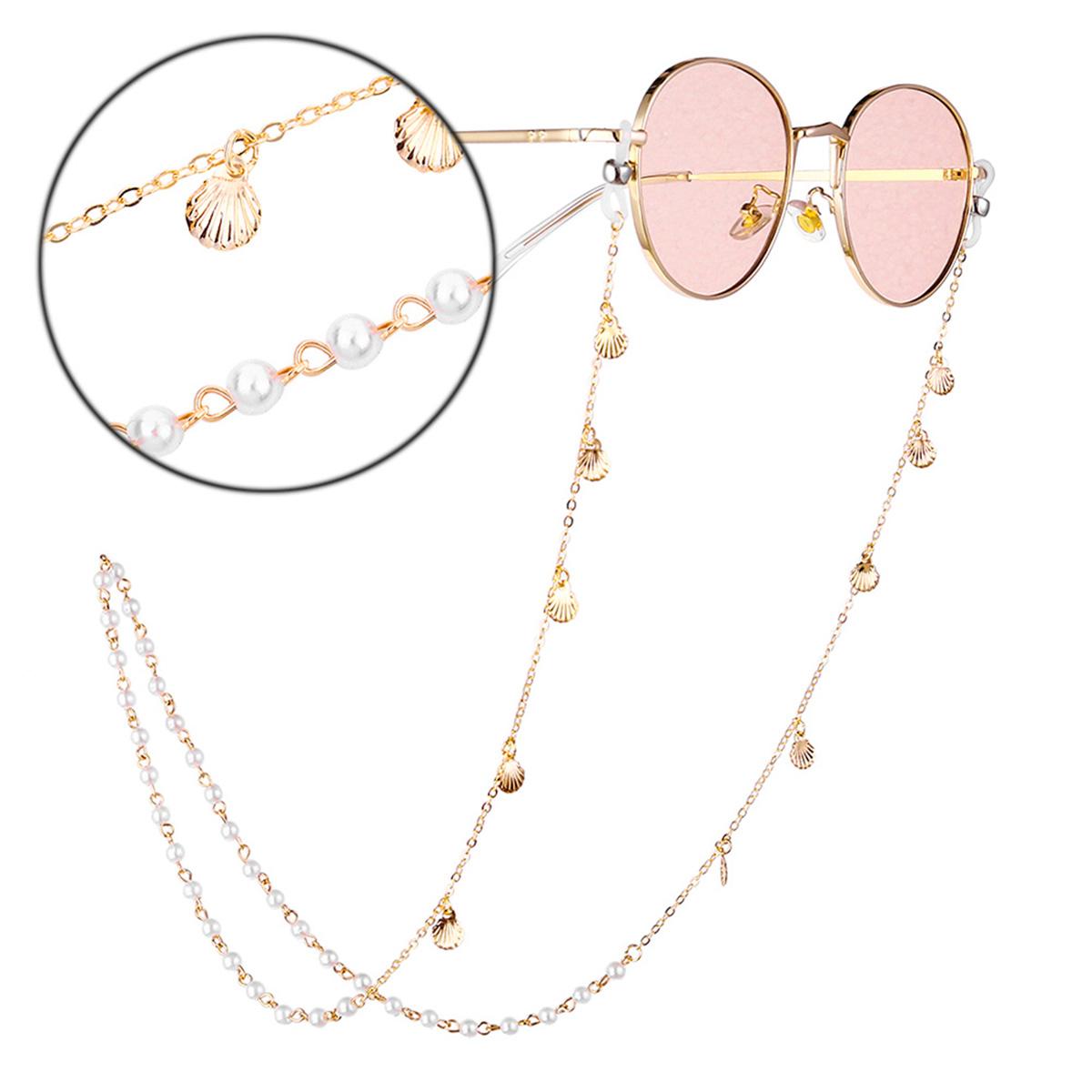 Chic Eyeglasses Chain Pearl Shell Decoration Sweet Style Eyeglasses Antiskid Chain Gold