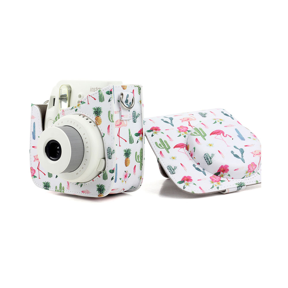PU Leather Camera Strap with Shoulder Strap with Flamingo Printing for Mini9 cactus