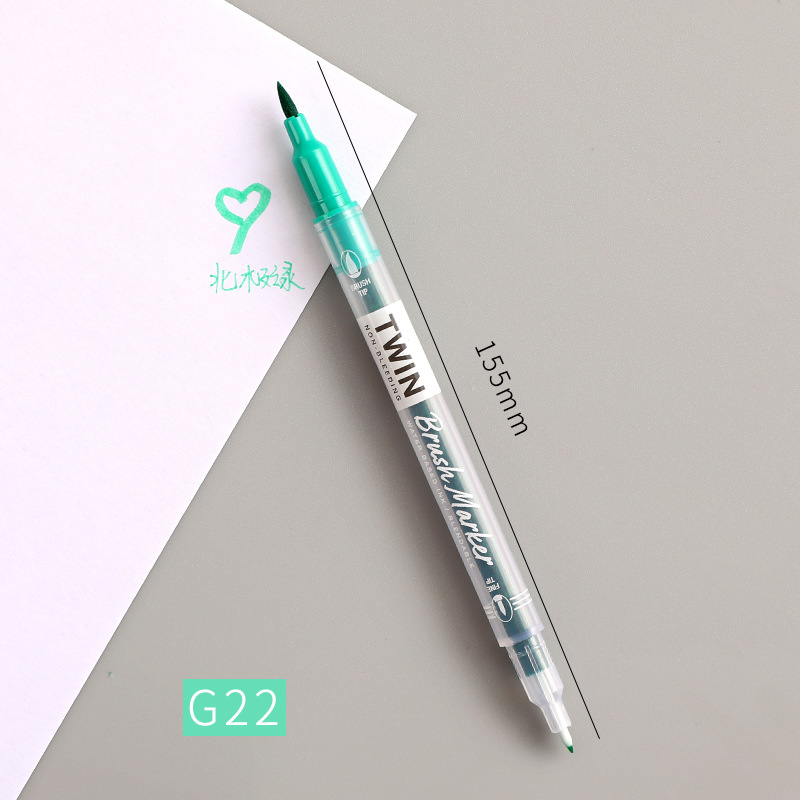 Double Head Marker Pen Multi Color Watercolor Water Based Hand Account Painting Pen Stationery Office Stationery G22 Arctic Green_15cm
