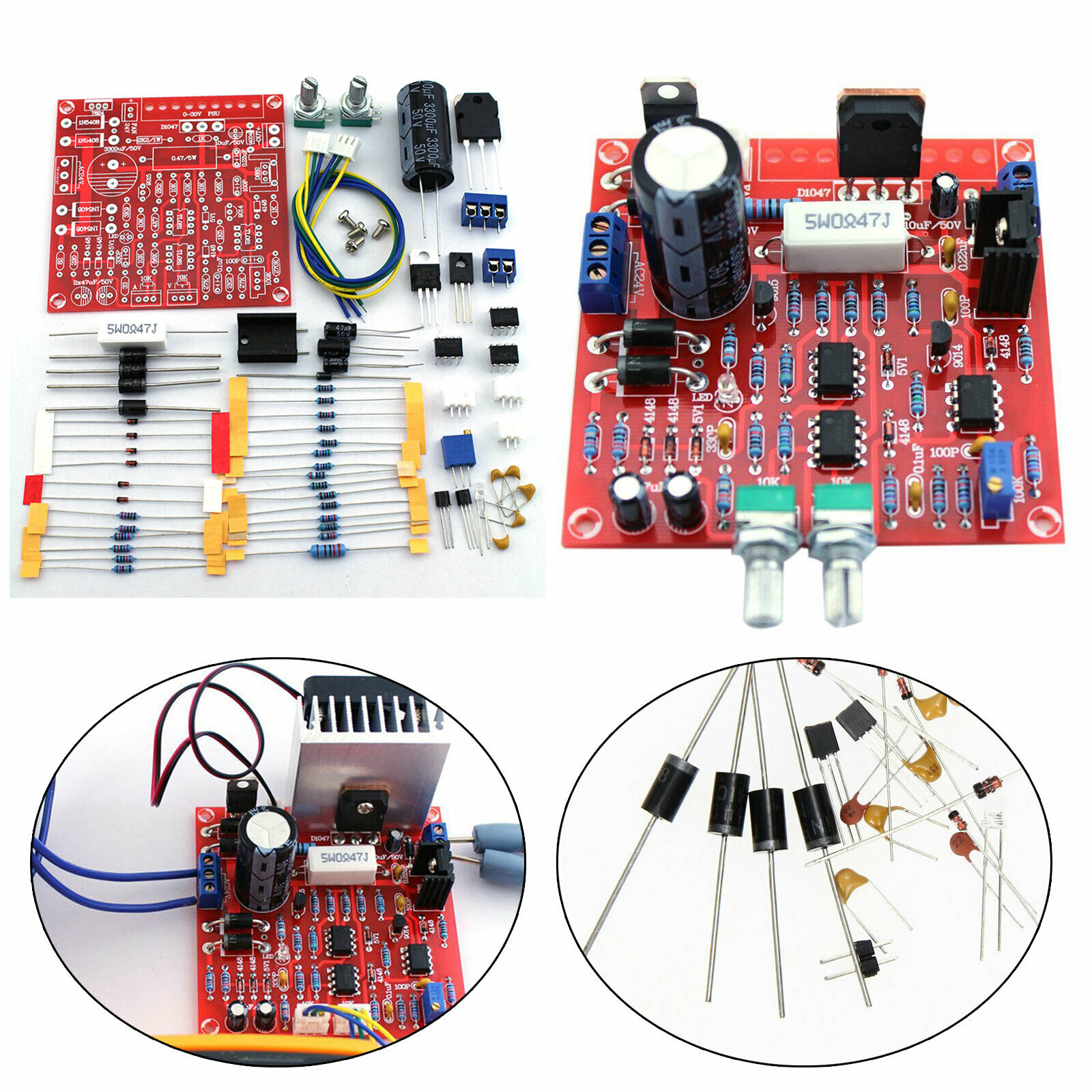0-30V 2MA-3A Adjustable DC Power Short-circuit Current Limit Protection DIY Kit Bagged