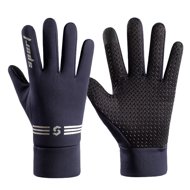 Men Women Touchscreen Gloves Anti Slip Windproof Autumn Winter Thermal Warm Gloves for Outdoor Riding blue_One size