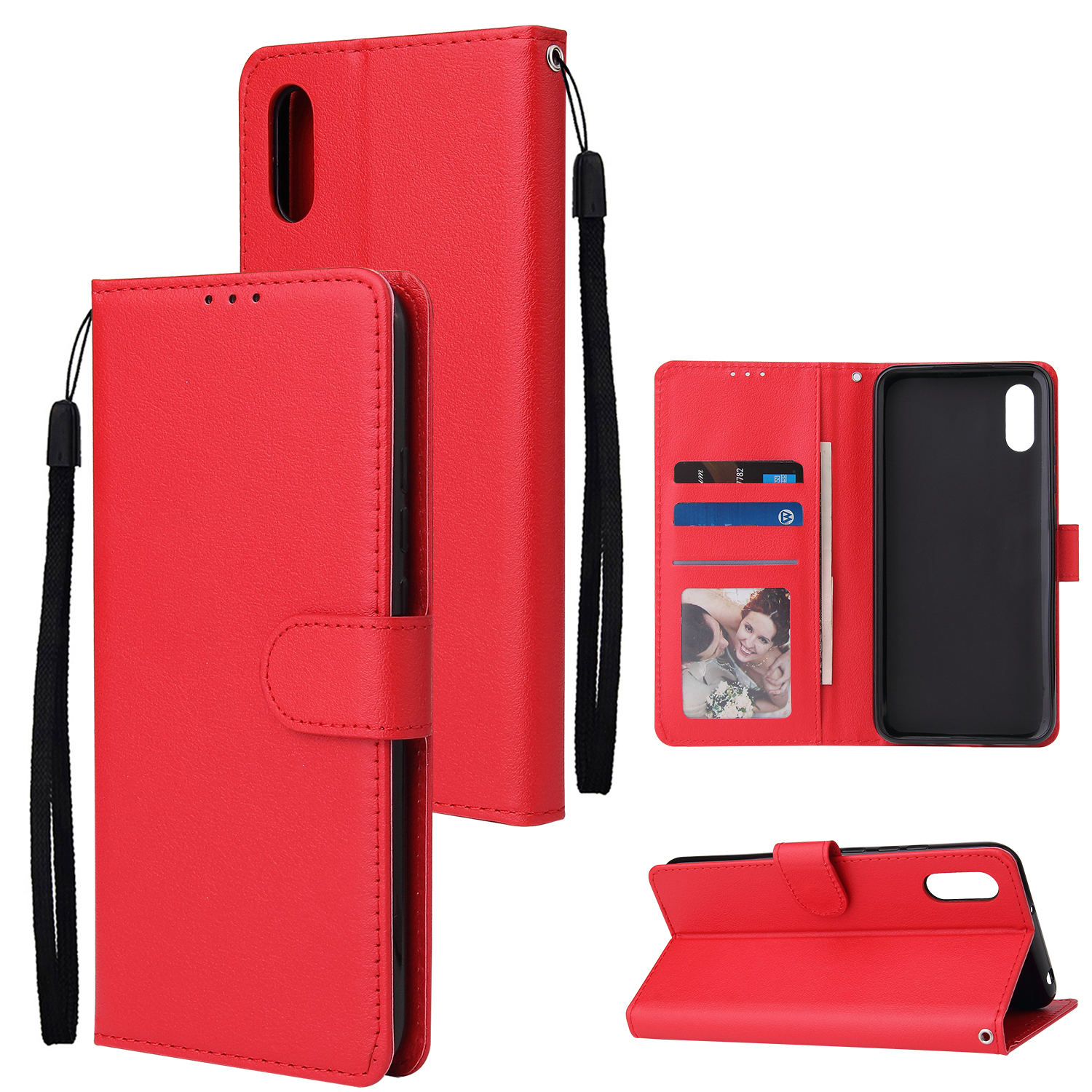 For Redmi 9A/Redmi 9C PU Leather Mobile Phone Cover with 3 Cards Slots Phone Frame red